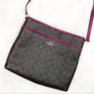 Coach signature Brown/purple file crossbody bag